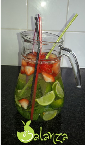 fruitwater aardbei limoen