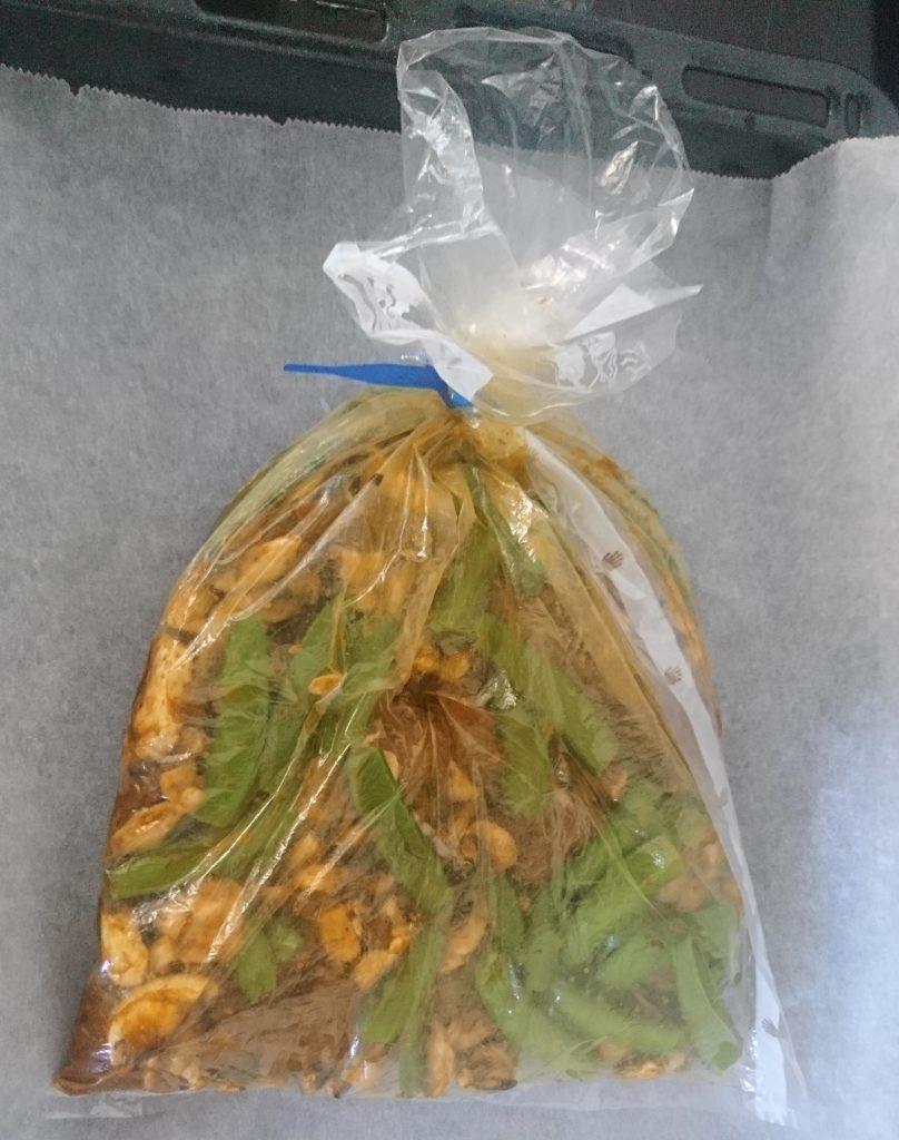 Kipfilet, champignon en sugar snaps in de braadzak