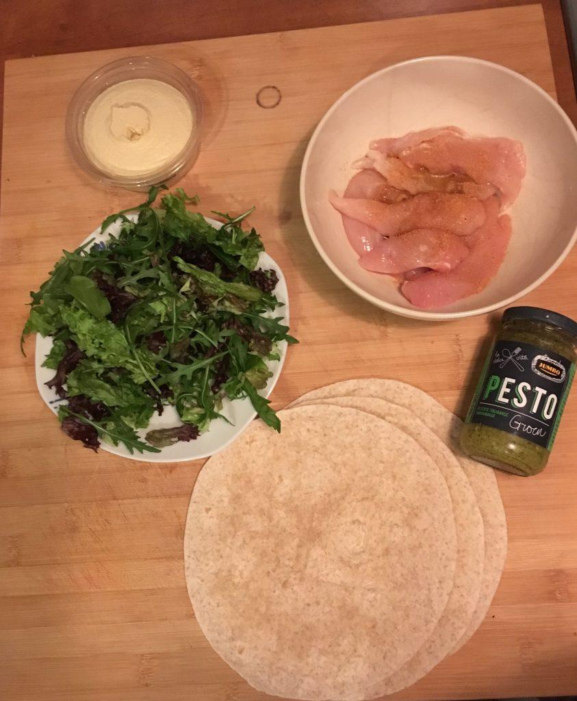 Recept wrap met kip en hummus